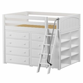 Kong 1 Full Mid-Height Loft Storage Bed with Angled Ladder