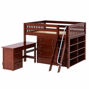 Kong 2 Full Mid-Height Loft Bed with Angled Ladder