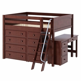 Kong 3 Full Mid-Height Loft Bed with Angled Ladder