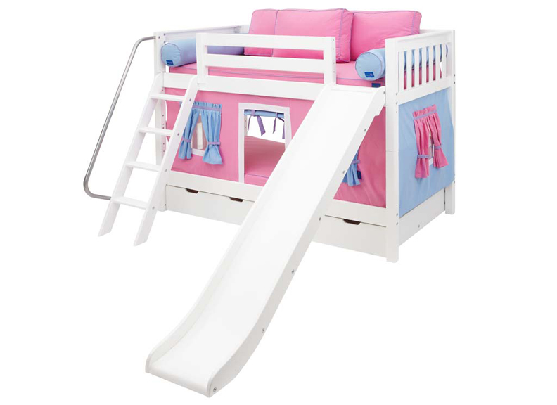 Laugh 28 LOW Bunk Bed with Angled Ladder, Slide and Curtain