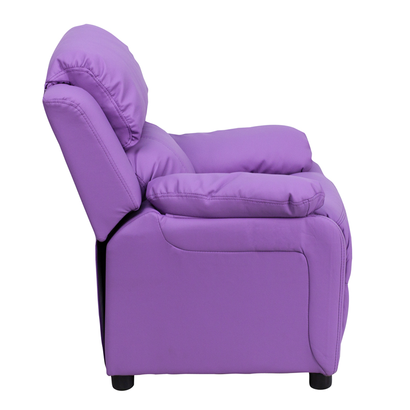 Lavender kids recliner with storage arms