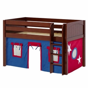 Low Rider 21 Twin Low Loft with Straight Ladder & Blue/Red Curtain