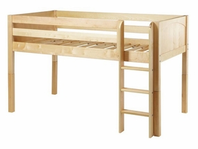 Low Rider Twin Low Loft Bed with Straight Ladder