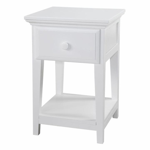 Maxtrix White Nightstand with Crown and Open Base
