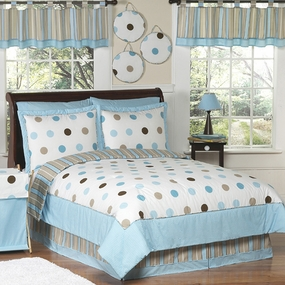 Mod Dots Blue & Chocolate Kids Bedding Collection