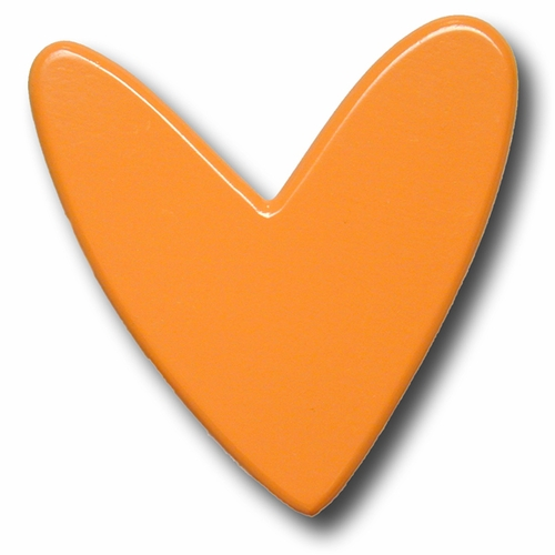 Orange Mod Heart Drawer Pull