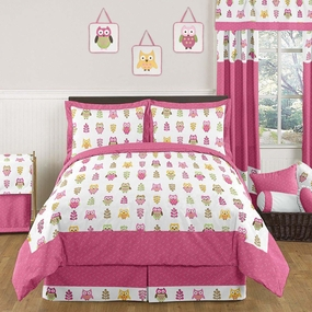 Owl Pink Kids Bedding Collection