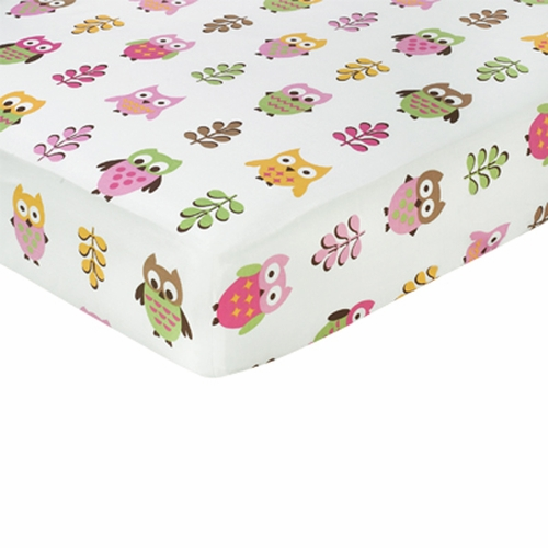 Owl Pink Print Fitted Crib Sheet