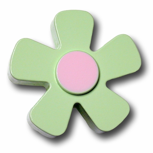 Pastel Green w/Pink Center Daisy Drawer Pull