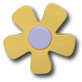 Pastel Yellow w/Purple Center Daisy Drawer Pull