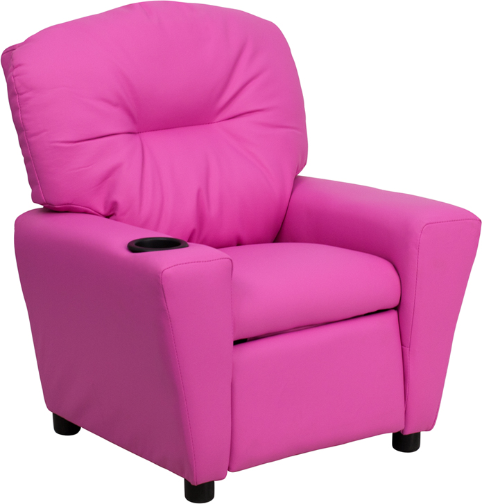 Pink kids recliner with cup holder