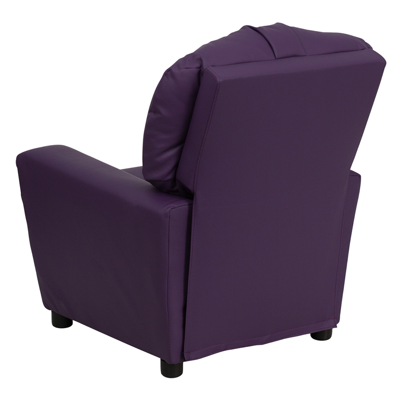 Purple kids recliner with cup holder