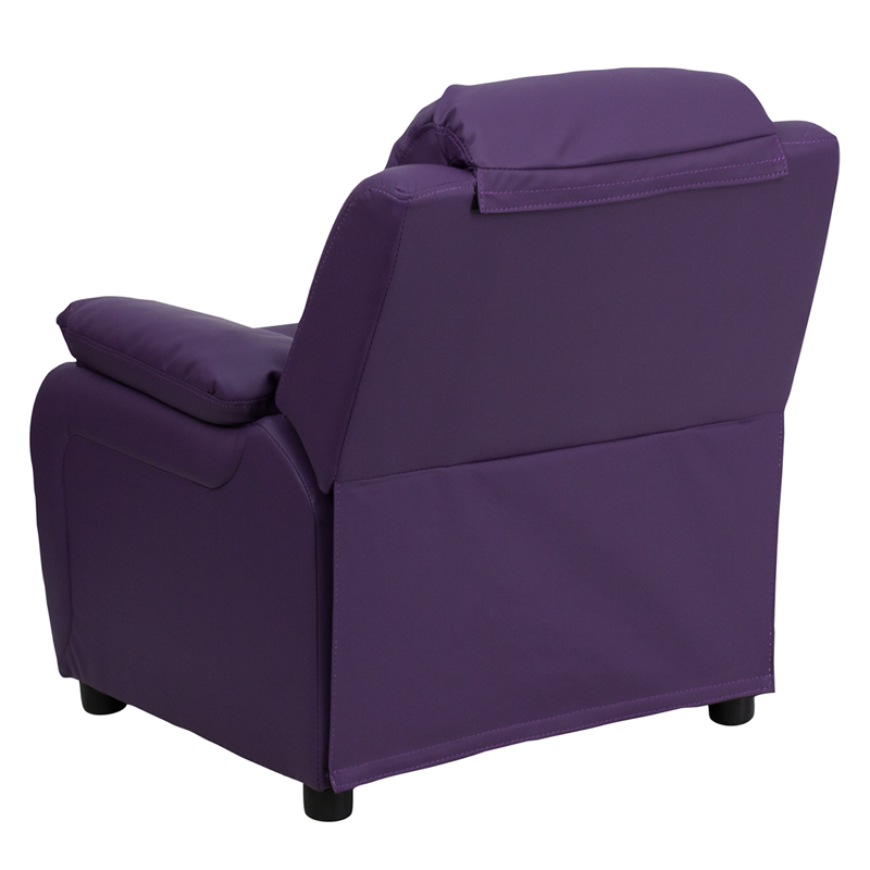 Purple kids recliner with storage arms