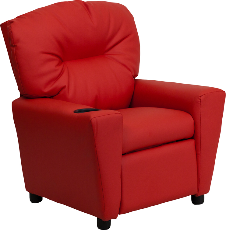 Red kids recliner with cup holder