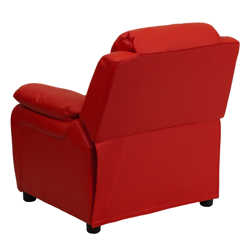 Red kids recliner with storage arms