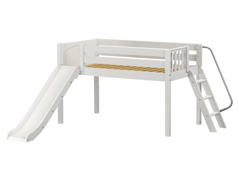 Smart Low Loft Bed with Slide and Angled Ladder on End