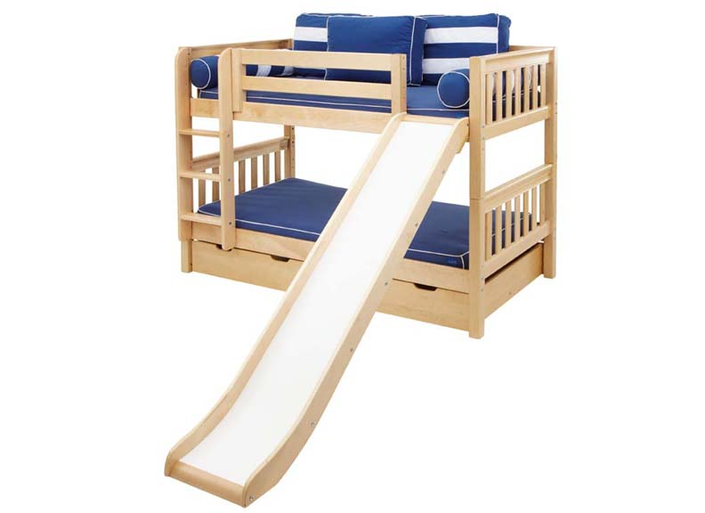 Smile Twin/Twin LOW Bunk Bed with Straight Ladder and Slide