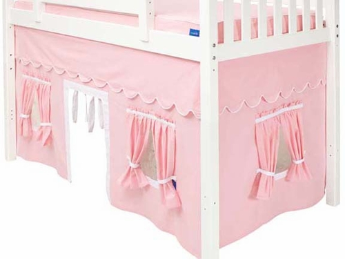 Soft Pink/White Mid-Height Underbed Curtain