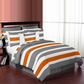 Stripe Gray and Orange Bedding Collection