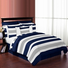 Stripe Navy and Gray Bedding Collection