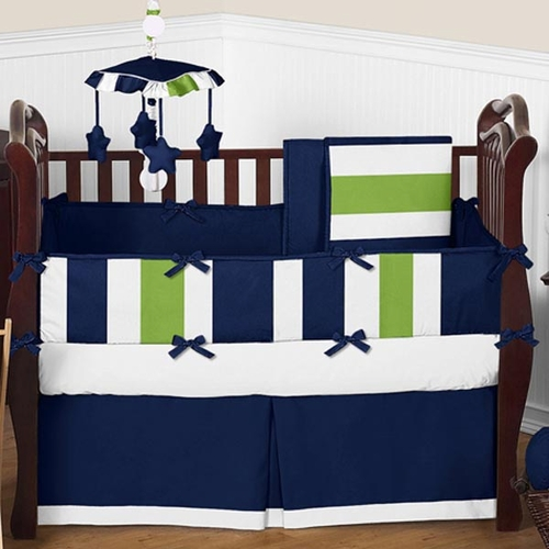 Stripe Navy and Lime Crib Bedding Set