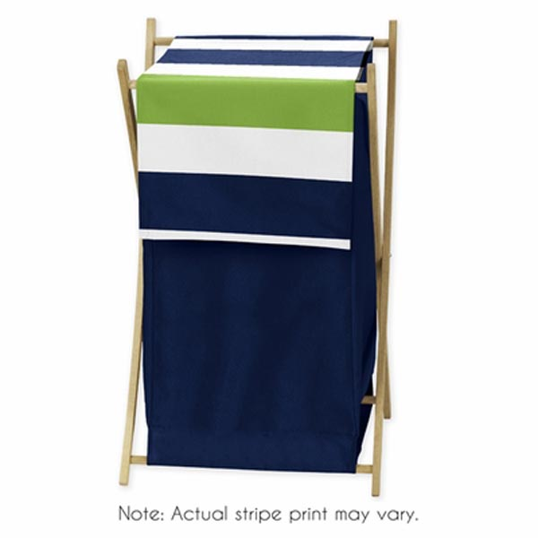 Stripe Navy and Lime Laundry Hamper