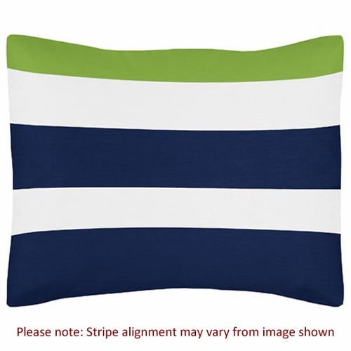 Stripe Navy and Lime Pillow Sham