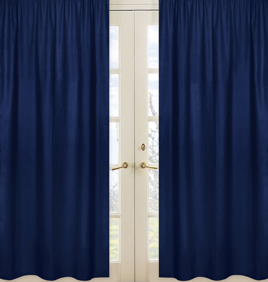 Stripe Navy and Orange Solid Navy Curtain Panels