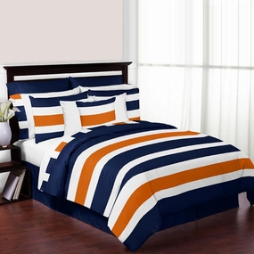 Stripe Navy Blue and Orange Bedding Collection
