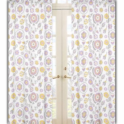 Suzanna Floral Print Window Curtain Panels