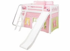 Sweet 25 Mid-Height Loft Bed with Slide and Curtain