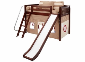 Sweet 30 Mid-Height Loft Bed with Slide and Curtain