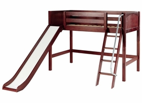 Sweet Mid-Height Loft Bed with Slide & Angled Ladder