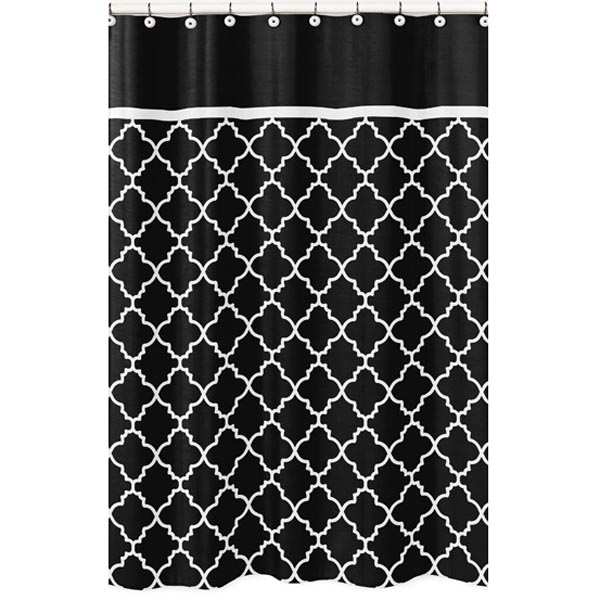 Trellis Black and White Fabric Shower Curtain