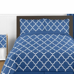 Trellis Blue and White Kids Bedding Collection