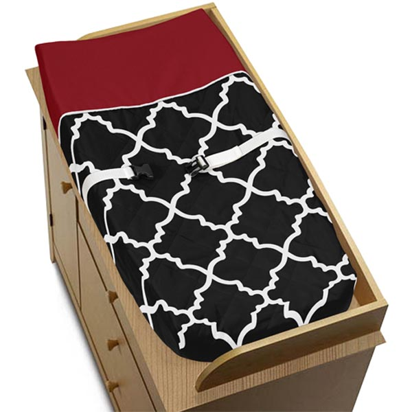 Trellis Red and Black Changing Pad Cover