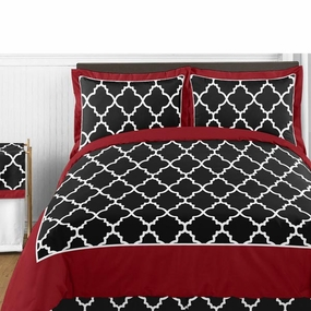 Trellis Red and Black Bedding Collection