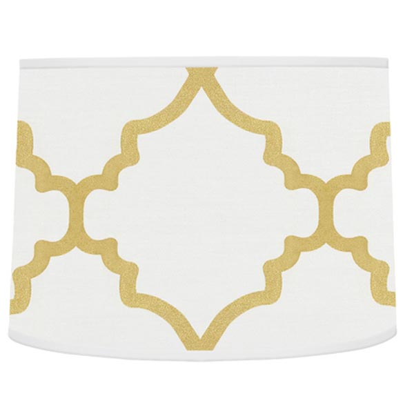 Trellis White and Gold Lamp Shade
