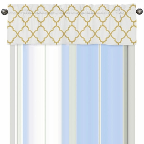 Trellis White and Gold Valance