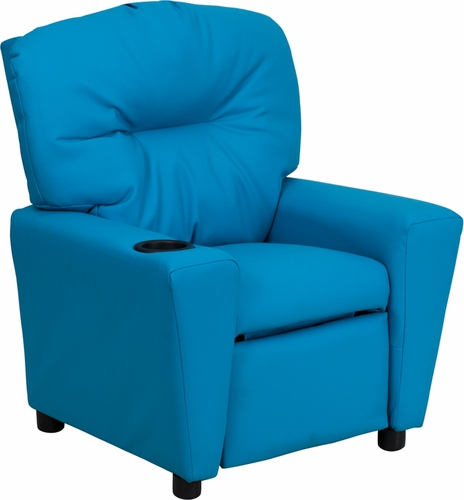 Turquoise kids recliner with cup holder