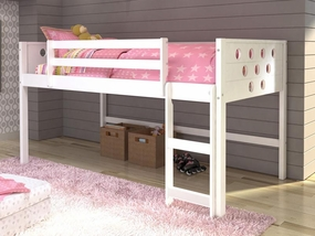 Twin Circles Low Loft Bed in White