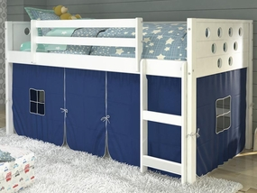 Twin Circles Low Loft Bed with Blue Curtain in White