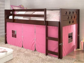 Twin Circles Low Loft Bed with Pink Curtain in Dark Cappuccino