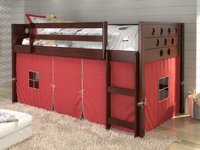 Twin Circles Low Loft Bed with Red Curtain in Dark Cappuccino