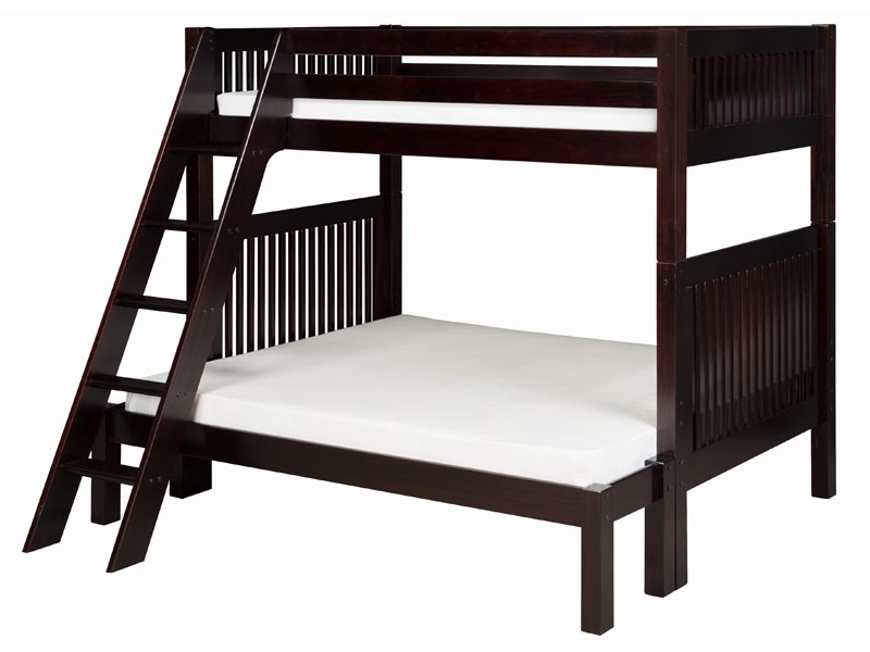 Twin/Full Mission Bunk Bed with Angled Ladder in Cappuccino
