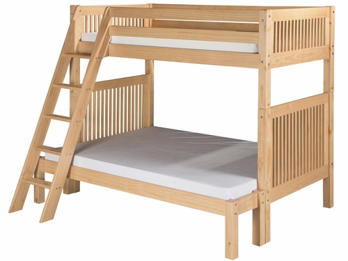 Twin/Full Mission Bunk Bed with Angled Ladder in Natural