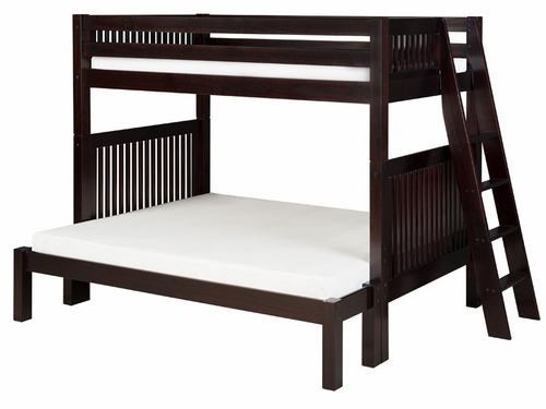 Twin/Full Mission Bunk Bed with Lateral Angled Ladder in Cappuccino
