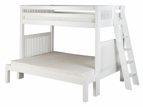 Twin/Full Mission Bunk Bed with Lateral Angled Ladder in White