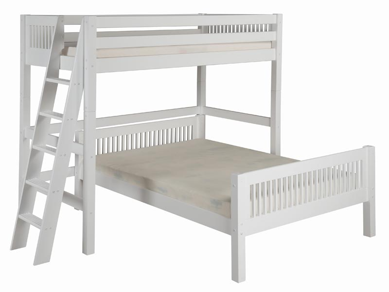 Twin/Full Mission L-Shape High Loft Bed with Lateral Ladder in White