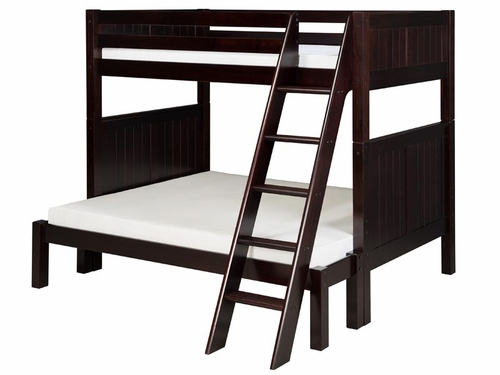 Twin/Full Panel Bunk Bed with Angled Ladder in Cappuccino
